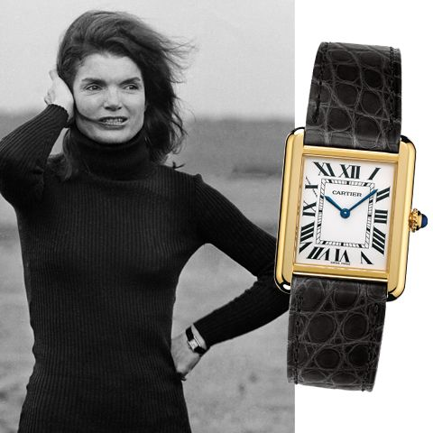 Jackie Kennedy's jewels - CARTIER TANK WATCH: Since the watch was conceived by Louis Cartier in 1917 the French firm continuously made a version of the original style. $4,900 cartier.com.