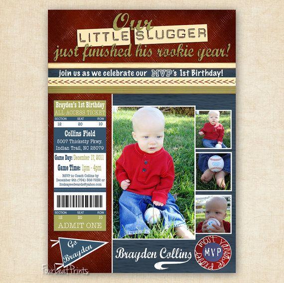 My Favorite- Little Slugger Baseball Birthday Invitation