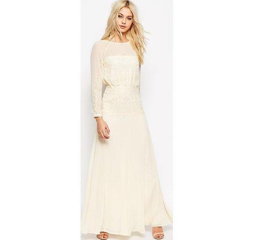 ASOS - Vestito lungo con raffinati pannelli in pizzo - Crema asos beige Estate