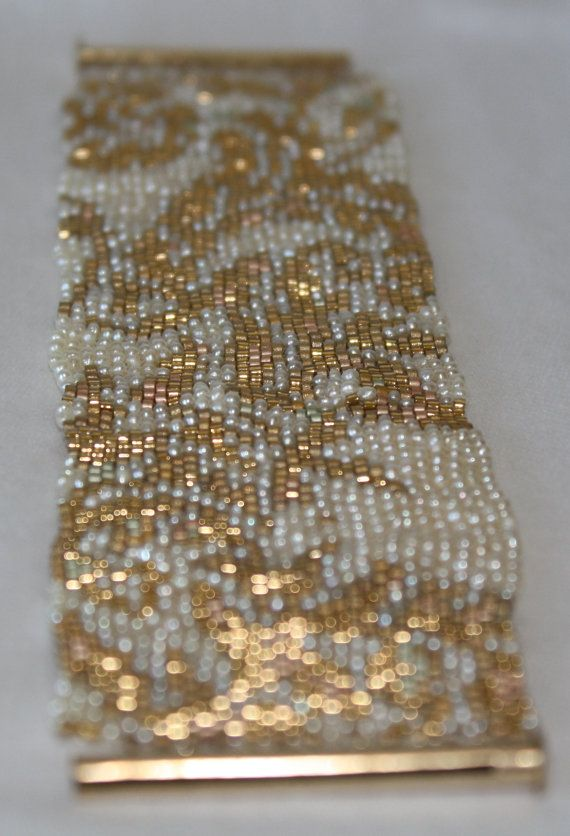 Seed Bead PATTERN ONLY for Peyote Stitch Gold and by pearlweaver