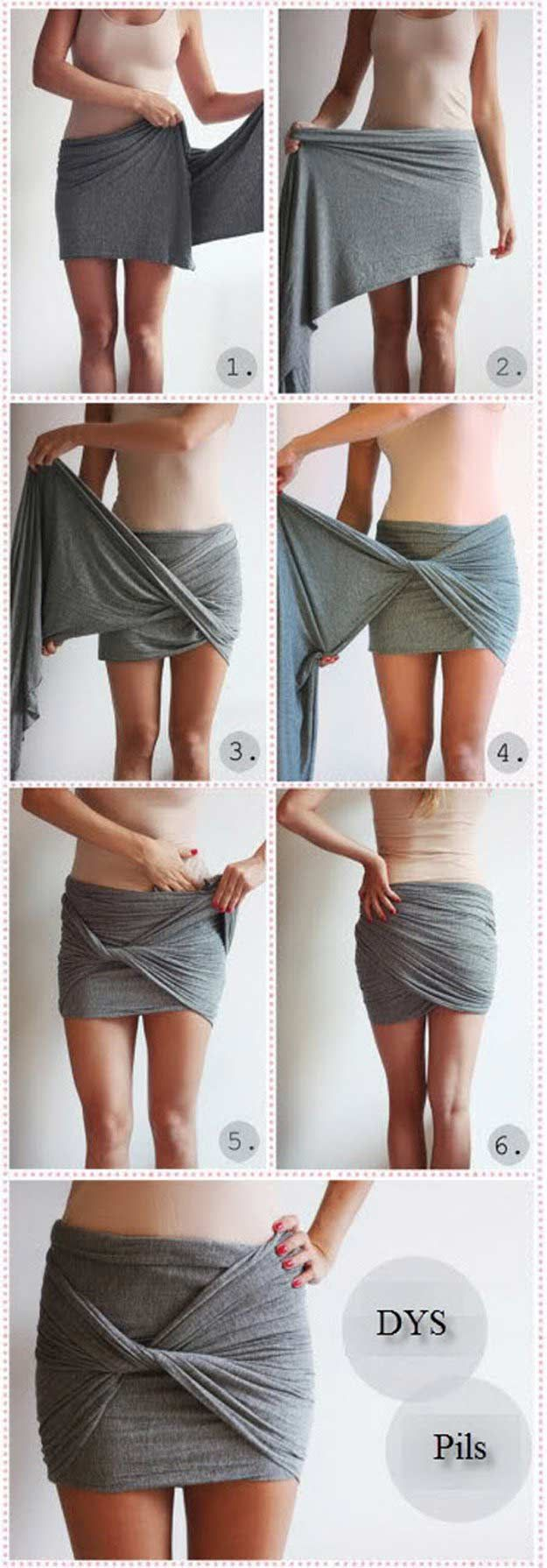 DIY Draped Skirt | DIY Skirts and Pants for Women DIY Clothes