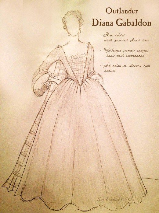 Sketches of Diana Gabaldon's dress (Iona McTavish) for The Gathering in episode 104 | from Outlander costume designer Terry Dresbach's blog