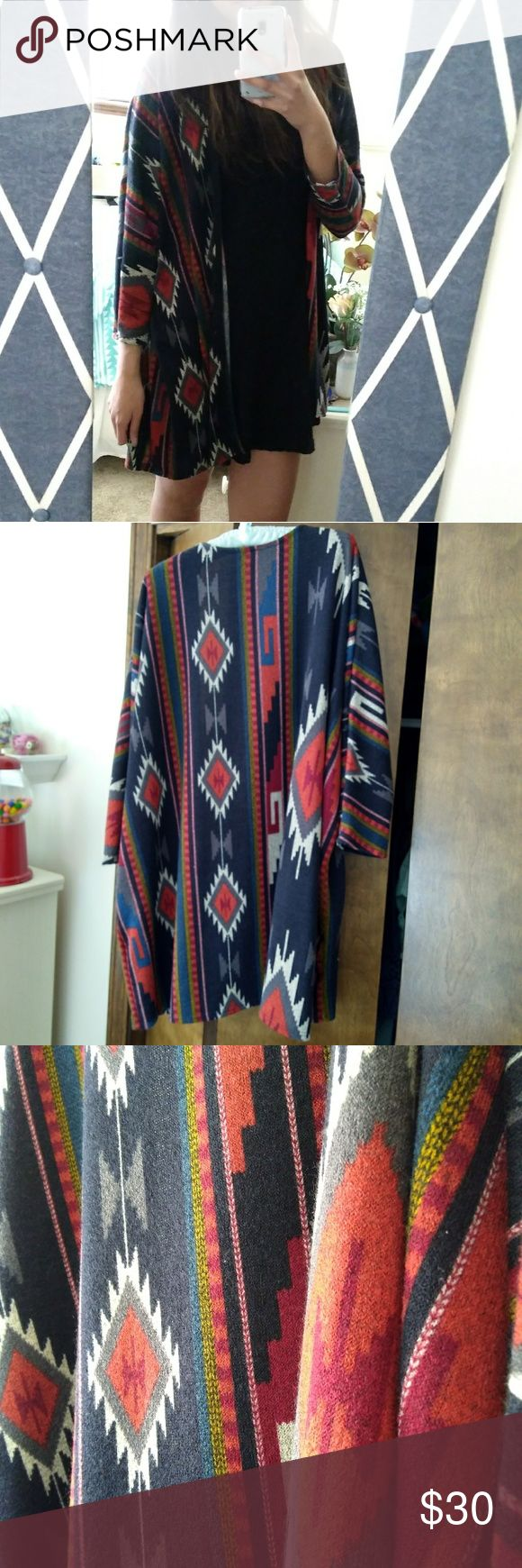 Aztec print cardigan Goes good with jeans, capris, skirts, and dresses! Never worn! Fits a range of sizes. Vanilla Bay Sweaters Cardigans
