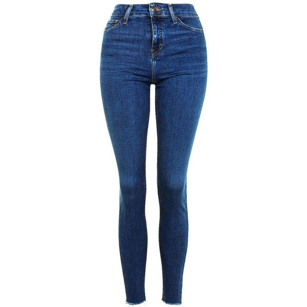 TopShop Moto Raw Hem Indigo Jamie Jeans found on Polyvore featuring jeans, pants, bottoms, indigo blue jeans, blue high waisted jeans, rock n roll jeans, denim skinny jeans and skinny fit jeans