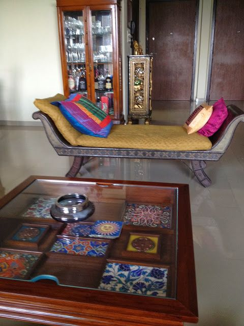 chaise and coffee table with tiles