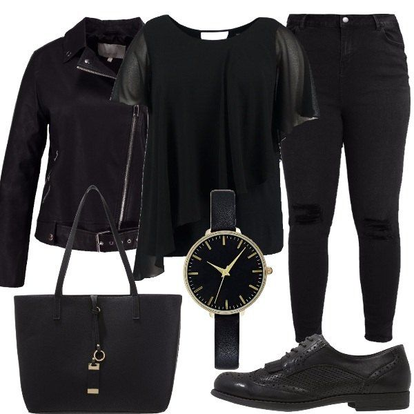 Il look total black adatto a ragazze curvy prevede un jeans, una blusa ed una giacca in finta pelle, le stringate con tacco largo e lacci, la shopping bag in finta pelle e l'orologio analogico con chiusura a fibbia.