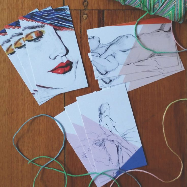 Nine small gift cards featuring three different artworks including Felicity's Crimson Rosie pen drawing and charcoal life drawings.The gift card pack comes with a length of pastel hemp twine and nine matching white envelopes. Gift cards are approximately business card size. Very small 'Flosski' logo in grey on reverse side.