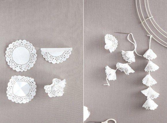 DIY facile napperons papier mariage décoration chaise et chandelier