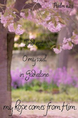 Psalm 62:5-8     Find rest, O my soul, in God alone; my hope comes from him. He alone is my rock and my salvation; he is my fortress, I will not be shaken. My salvation and my honor depend on God; he is my mighty rock, my refuge. Trust in him at all times, O people; pour out your hearts to him, for God is our refuge.