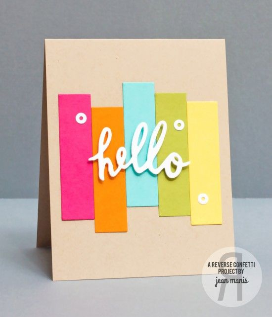 hand crafted greeting card: ConfettiCameraHello ... clean, graphic lines ... bright color strips on light kraft ...