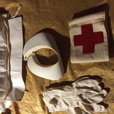 Equipo enfermera Cruz Roja 1950 Toca, cuello, guantes y brazalete