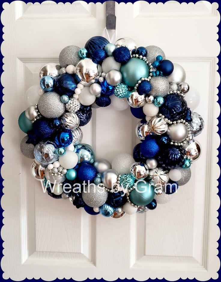 Blue And Silver Christmas Ornament Wreath Christmas Mantel Decor Winter Wreath Christmas Gifts Holiday Porch Decor Xmas Wreath Handmad Silver Christmas Ornaments