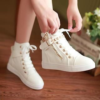 Buy 'Sidewalk – Studded Belt Hidden Wedge Sneakers' with Free International Shipping at YesStyle.com. Browse and shop for thousands of Asian fashion items from China and more!