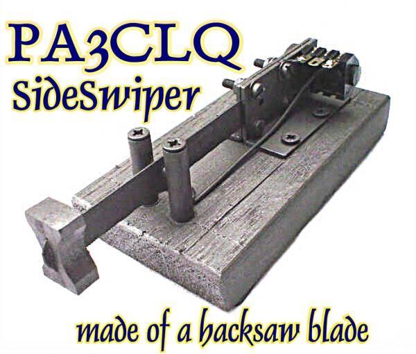 Cootie aus einem Sägeblatt; Sideswiper made from a hacksaw blade; Rechts-Links-Taste; Wabbler; Double Speed Key; Manip simple levier, double contact fait à l'aide d'une lame de scier; Selbstbau/Homebrew/Construction de PA3CLQ