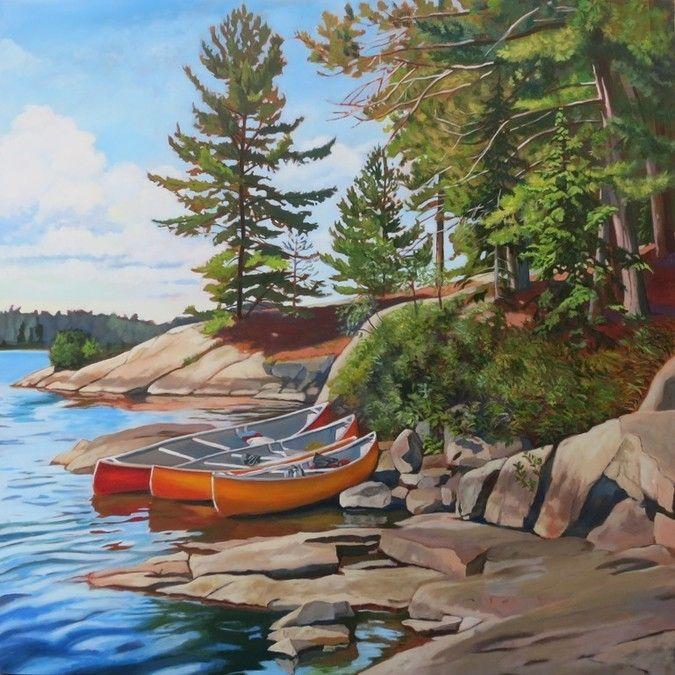 Three Canoes, Algonquin Park by Anna Clarey