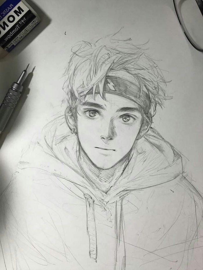 Boy Black And White Pencil Sketch Anime Drawing Ideas Rubber Anime Drawings Sketches Pencil Art Drawings Anime Drawings Boy