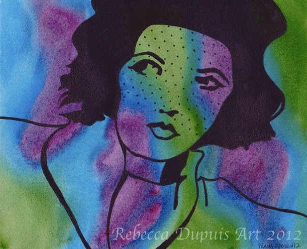 """""""Attentive"""" in Watercolor and Ink on Cotton Paper by Rebecca Dupuis.  Size 8.25"""" x10.25"""".  If you have any questions or would like to purchase artwork, please contact me on Facebook at RebeccaDupuisArt."""
