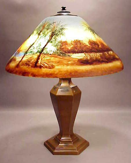 """2101: Classique Lamp With 18"""" Reverse Painted Shade NR On"""