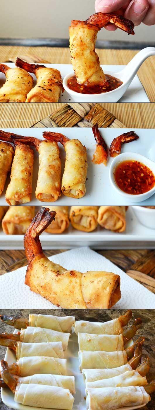 Spicy Firecracker Shrimp. main ingredients: egg roll wrappers, shrimp, flour, hot sauce, soy sauce, rice vinegar, sesame oil, garlic, lime