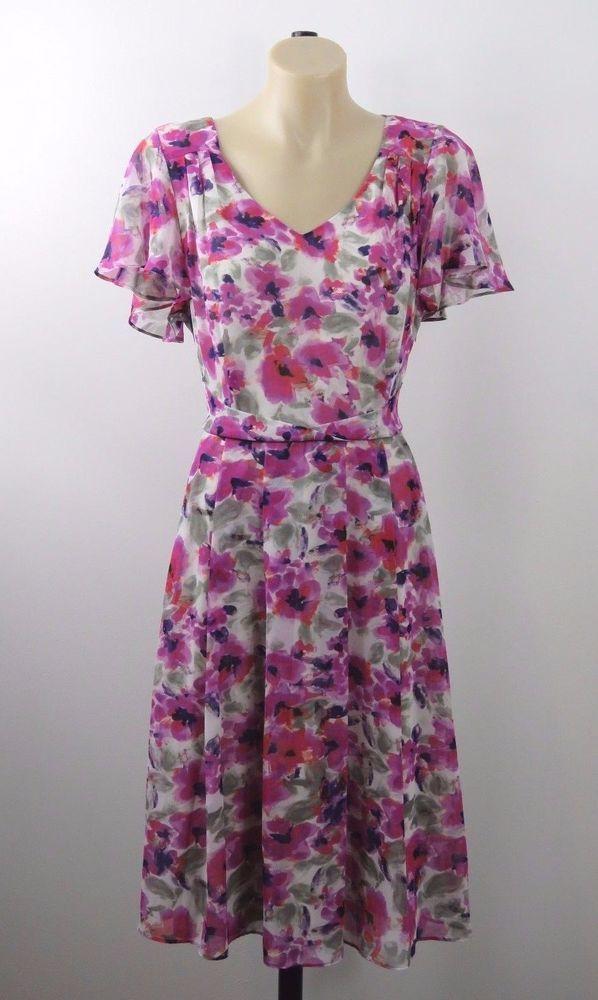BNWT Size M 12 Jacqui E Ladies Dress Floral Feminine Vintage Boho Chic Design #JacquiE #ALineDress #PartyCocktail
