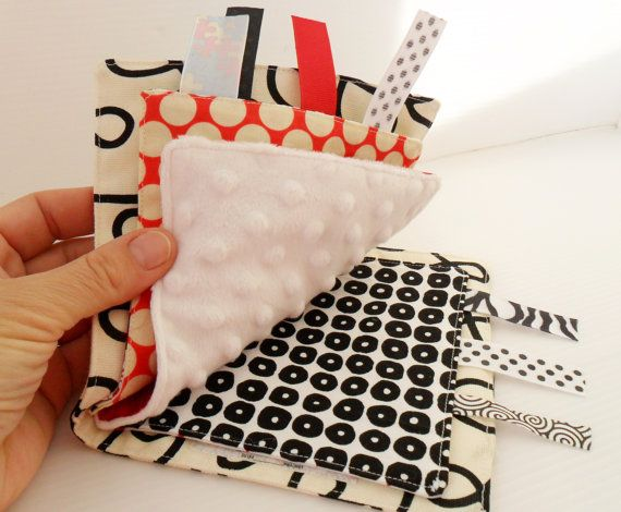 Babies love high-contrast art and so do we. -SH -- Handmade High Contrast Fabric Sensory Baby Book by WoodPondDesigns