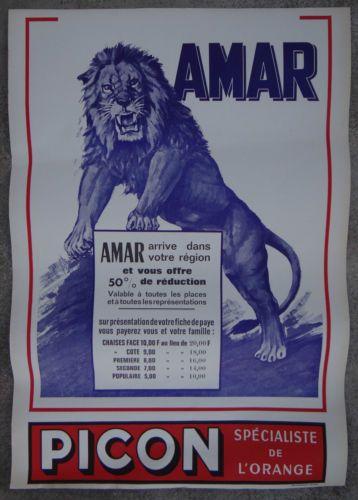 Affiche-originale-CIRQUE-AMAR-PICON-LION-circus-poster-Lowe-Zirkus-circo-leone