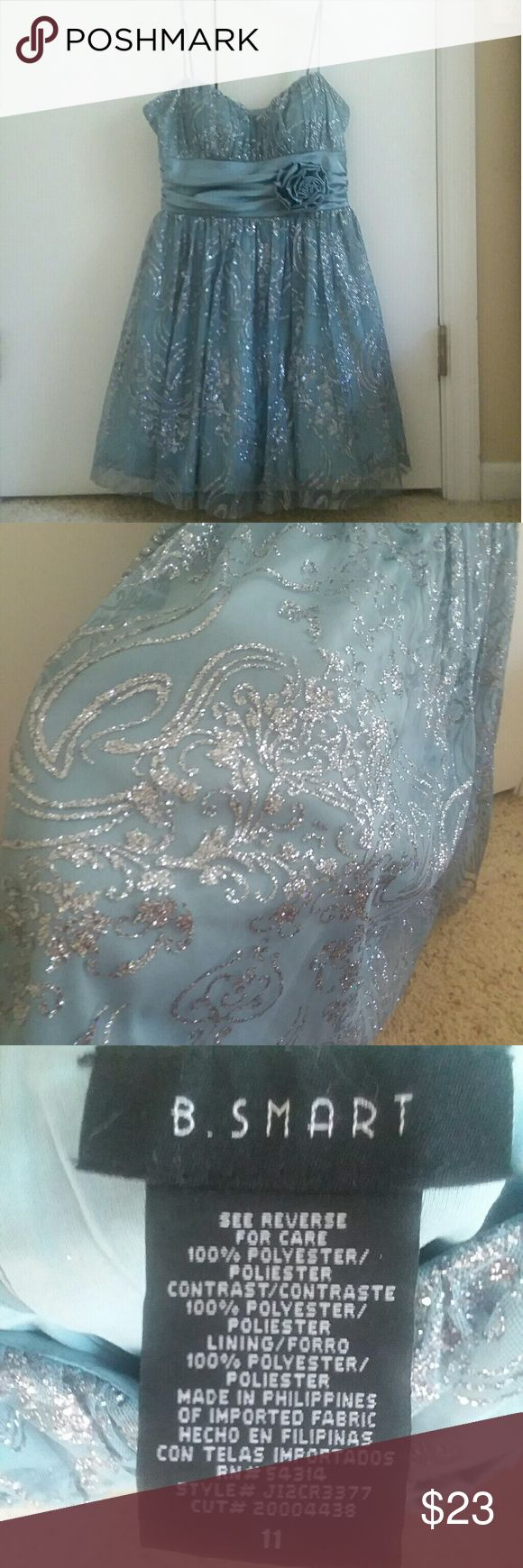 Homecoming Blue Party Dress •Worn Once and in excellent condition.  •Adjustable spaghetti straps •Dusty-Blue color •Mesh overlay with silver glitter B. Smart Dresses Prom