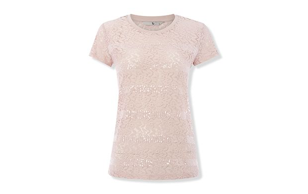 """Pink Sequin Stripe Top. """"Soft pink adds a distinctly feminine flavour to this pretty tee."""""""