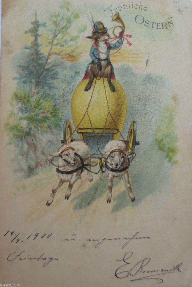 """Ostern, Osterhase, Kutsche, Horn, Schaf, Osterei, Post"" 1900 ♥ (24374) | eBay"