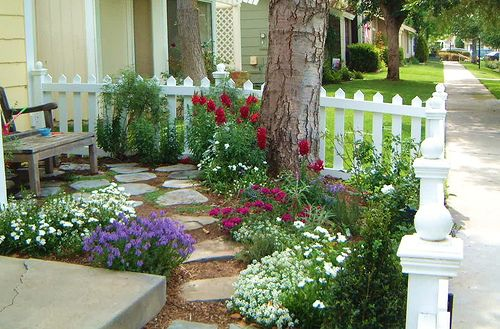 Cottage Garden Small Front Yard With Picket Fence