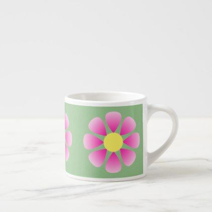 Pink daisy pattern espresso cup - spring gifts beautiful diy spring time new year
