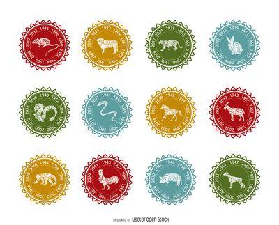 Conjunto de etiqueta zodiaco chino
