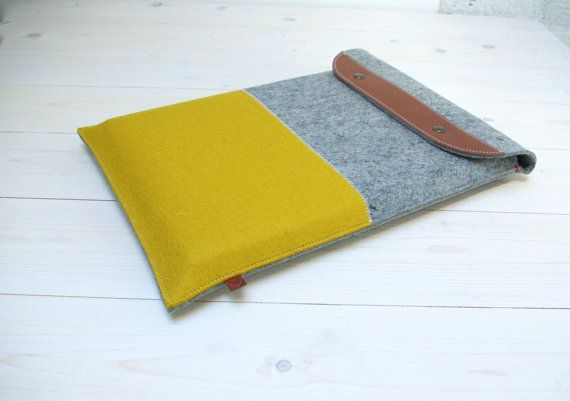 13 MACBOOK PRO/AIR case - safe with fold closure. Yellow/grey woolfelt. WestermanBags