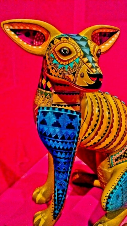 Mexican folk art - 'Alebrijes' are brightly colored Mexican folk art sculptures of fantastical creatures.