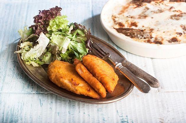 Σνίτσελ κοτόπουλο με πατάτες στο φούρνο με κρέμα τυριού-featured_image
