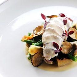Breast of partridge with shiitake mushroom, baby artichoke, haricot vert and truffle from master chef Robert Thompson