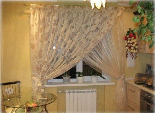 Тюлевые кухонные занавески оригинального дизайна красивы и изящны