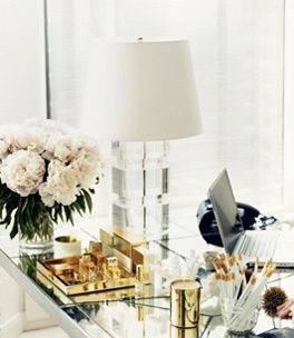 Home Office Heaven. Fresh flowers and gold desk accessories.