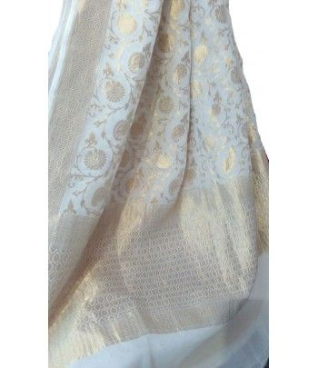 White and Golden Banarasi Khaddi Georgette Dupatta