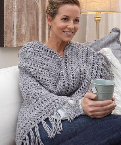 Genuine Pleasure Shawl - free crochet pattern by Jamie Swiatek for Red Heart. Worsted weight.