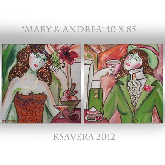 Portrait Painting of two Woman Russian Impressionist by KsaveraART #paintings #painting #portrait #porträt #women #girls #green #orange #malerei #gemälde #bilder #bild #diptych