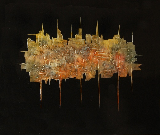 Bonetown, acrylic paint on canvas