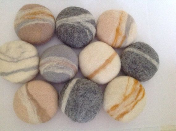 This listing is 10 felted soap pebbles.  Handmade to order.  Pebbles will be very similar in style, but colours and makings will vary from those