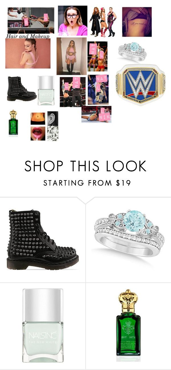 """Leah and Natalya vs. Nikki and Becky"" by thefuturemrsambrose ❤ liked on Polyvore featuring Dr. Martens, WWE, DIVA, Allurez, Nails Inc. and Clive Christian"
