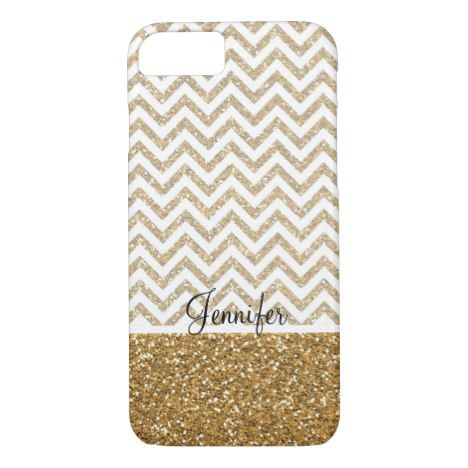 Gold Glam Faux Glitter Chevron iPhone 8/7 Case