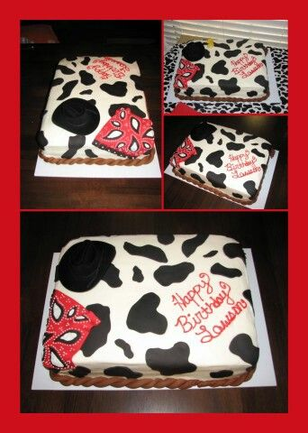 Cow print sheet cake-dressed up with fondant cake toppers!
