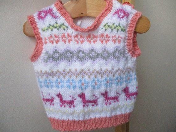 Baby fairisle sleeveless top baby vest baby by WilverlyWoollens
