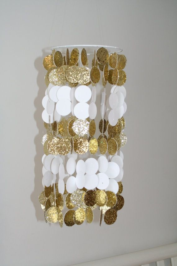 Gold Glitter and White Paper Crib Mobile by FourGlitteredGeese, $78.00