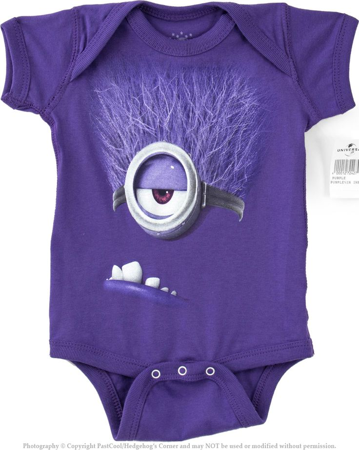 Authentic despicable me purple evil minion baby onesie for Minion clothespins