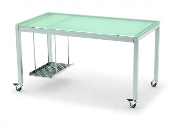 Desk with a minimalist design suitable for both offices and studies. It consists of a metal frame and a toughened glass top that is both scratch- and knock-resistant. Avantgarde has four soft rubber castors (two fitted with brakes) and a removable CPU holder.  Dimensions  51 1/4 inches width  27 5/8 inches depth